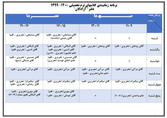 ترم تحصیلی 1400-1399